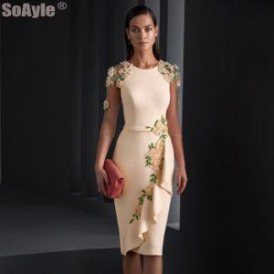 SoAyle Elegant Evening Dress 2020 O-Neckline Pencil Crepe Godmother Evening Dresses Shoulder Beading Flowers Dress discountshub