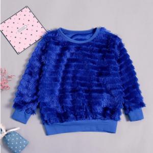 Solid Color Girls Tassel Patchwork Long Sleeve Tops For 1Y-7Y discountshub