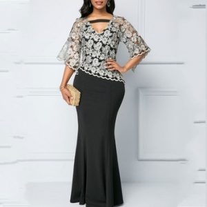 Spring Autumn African Maxi Dresses For Women 2020 Black Fashion Robe Long Dress Lace Bazin Vestido Dashiki Party African Clothes discountshub