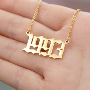 Stainless Steel Birth Year Necklaces For Women Men Gold Silver Color Chain Male Female Pendant Necklace Fashion Neck Jewelry discountshub