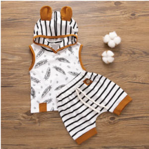 Striped Hooded Baby Clothing Set For 0-2Years discountshub