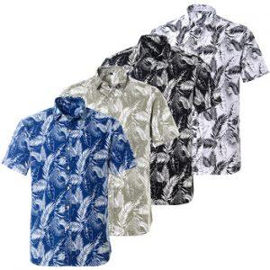 Summer Pure Cotton Mens Hawaiian Dress Shirt Loose Printed Short Sleeve Big Us Size Hawaii Flower Men Beach Floral Shirts discountshub
