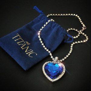 Titanic Heart of Ocean blue heart love forever pendant Necklace + velvet bag discountshub