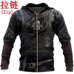Viking Armor Tattoo 3D Printed Men hoodies Harajuku Fashion Sweatshirt Cosplay costume Unisex Casual jacket Zip Hoodie WJ003 discountshub