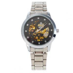 WEIGUAN Casual Leather Stainless Steel Rhinestone Mechanical Automatic Skeleton Watch discountshub