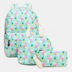 Women 3Pcs Flamingo Printed School Backpack Meal Bag Pencil Case discountshub
