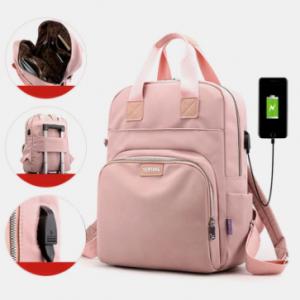 Women Casual USB Charging Multifunction Solid School Bag Backpack discountshub