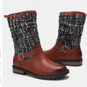 Women Winter Splicing Buckle Strap Flat Long Boots discountshub