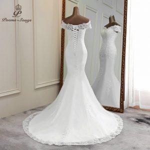 Sexy wedding dress 2020 appliques flower robe de mariee elegant bride dress lace wedding gowns beautiful mermaid bridal gown discountshub