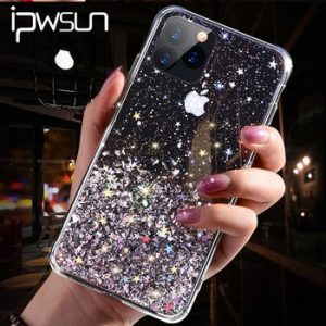 iPWSOO Glitter Foil Powder Case For iPhone 11 Pro XS Max XR X Bling Phone Case For iPhone 11 8 7 6 6s Plus Soft TPU Clear Cover discountshub