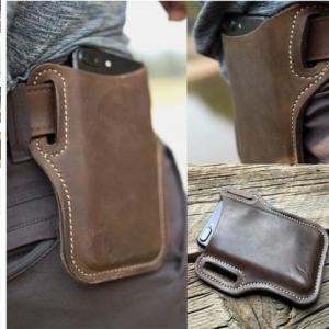 Men Genuine Leather 7.2 Inch EDC Retro Short Cell Phone Case Belt Bag discountshub