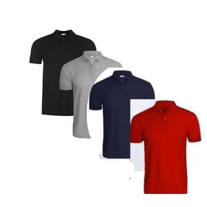4 In 1 Quality Men's Polo T-Shirts-Grey/Navy Blue/Black/Red discountshub