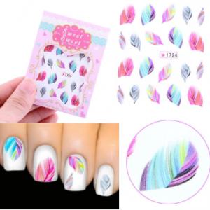 1 Sheet Rainbow Colorful Feather Nail Art Sticker DIY Water Transfer Decals Decoration discountshub
