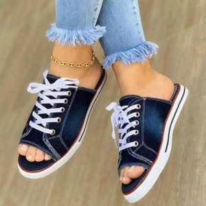 2020 Fashion Women Canvas Sandals Breathable Summer Slippers Lace Up Open Toe Ladies Faux Denim Flat Shoes Zapatos Mujer diacountshub