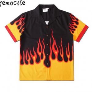 2020 Hi hop Harajuku Couples Wear Summer Casual Men Women Shirts flame Print Street wear Loose Short Sleeve Shirt StreetWear discountshub