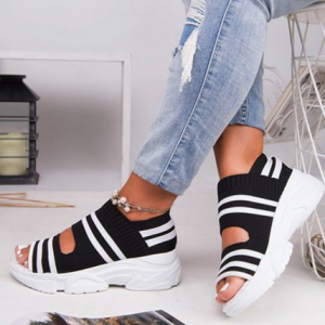 2020 Summer Women Sandals Open Toe Wedges Platform Ladies Shoes Knitting Lightweight Sneakers Sandals Big Size Zapatos Mujer discountshub