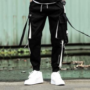 2020 new hip-hop jogger men's black harem overalls multi-pocket ribbon men's sports pants streetwear casual men's casual pants discountshub