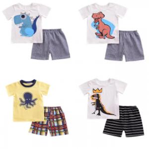 2Pcs Cartoon Print Boys Clothing Set Toddlers Kids Cotton T-shirt + Shorts For 1Y-9Y discountshub