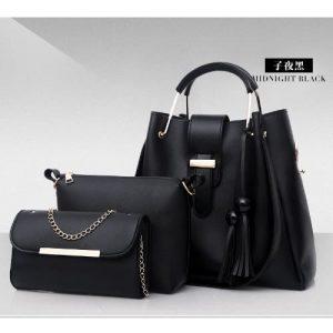 3 In 1 Ladies Handbag Set - Black discountshub
