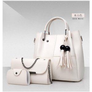 3 Pcs Ladies Handbag Set - White discountshub