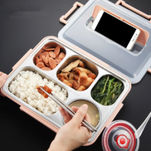 304 Stainless Steel Insulated Lunch Box Divided Children's Plate Pupils Office Workers Portable Set discountshub