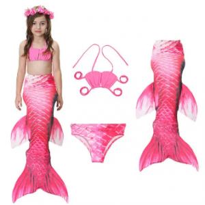 3Pcs Mermaid Tail Swimmable Bikini Bathing Suit Children Swimwear For Girls 4Y-13Y discountshub