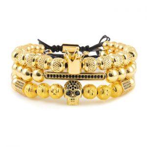 3pcs/set Luxury Men Bracelet King Crown Pattern Beads CZ Skeleton Skull Ball Charms Men's bracelets & bangles for Men Jewelry discountshub