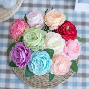 5pc Pink Peony Silk Artificial Flowers Bouquet for Wedding Decoration White Fake Flower Home Table Decor Wall Wreath Accessories discountshub