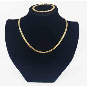 Net Pattern Necklace With To Match Bracelet - Gold discountshub