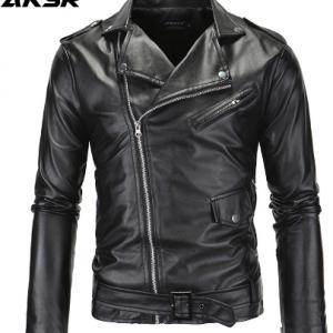 AKSR Men's Leather Jacket Stand Collar Cropped Diagonal Zipper Punk Style Casual Slim Jacket Faux Fur Coat Men Hot Size M-4XL discountshub