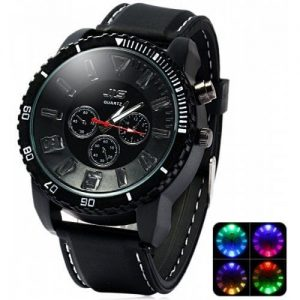 Black LED Light Waterproof Quartz Wrist Watch With Silicon Band - Black discountshub