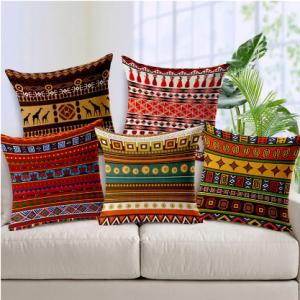 Bohemian Folk Geometrical Printed Linen Cotton Cushion Cover Home Sofa Decor Throw Pillow Cover discountshub