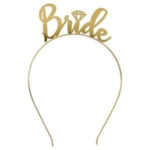 Bride Metal Headband Tiara Crown - Metallic Gold discountshub