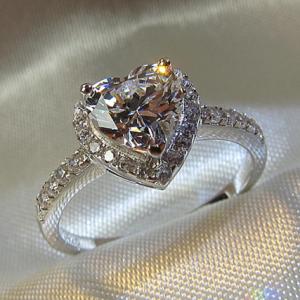 CC Heart Rings for Women S925 Silver Wedding Engagement Bridal Jewelry Cubic Zirconia Stone Elegant Ring Accessories CC829 discountshub