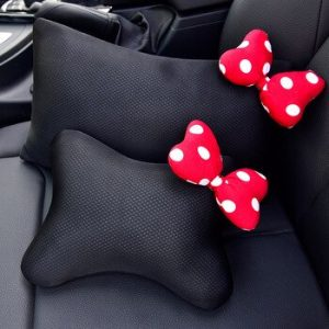 Car-mounted ice silk head pillow waist support bowknot steering wheel cover seatbelt covers tissue box storage for girls women discountshub