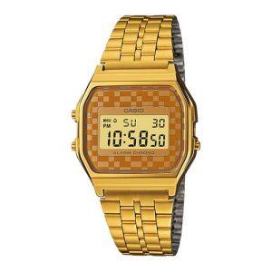 Casio A159WGEA-9ADF Men's Vintage Chrongoraph LCD Digital Watch - Gold discountshub