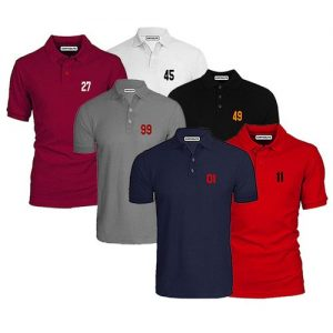 Chrysolite Designs Lucky Numbers 6 IN 1 Casual Polo Bundle - Navyblue, Black, White, Grey, Wine, Red. discountshub