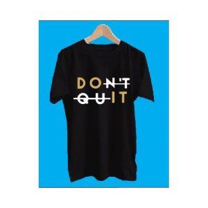 DON'T QUIT Black Polo T Shirt Round Neck --men And Women discountshub