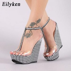 Eilyken Fashion Gingham Thick Bottoms Wedge Sandals Femme Ankle Buckle Strap Platform High Heels PVC Transparent Women Shoes discountshub