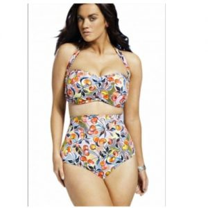 Emfed AAA Cherry Print Ruched Top High Waist Plus Size Swimsuit discountshub