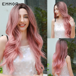 Emmor High Temperature Cosplay Daily Pink Wig Long Black Root Melt to Pink Natural Wave Synthetic Hair Wigs with Bangs for Women discountshub