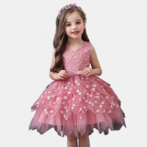 Girl's Tulle Layed Embroidery Flower Princess Formal Wedding Birthday Dress For 1-7Y discountshub