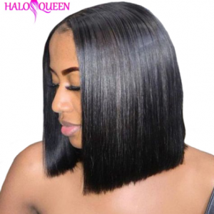 HALOQUEEN Remy Straight Short Human Hair Wigs 13x4 Lace Frontal Wig Straight Bob Lace Front Wigs Hair Lace Front Human Hair Wig discountshub