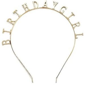 Happy Birthday Metal Headband Tiara Crown - Metallic Gold discountshub