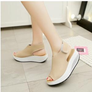 Hook Loop Peep Toe Rocker Sole Platform Casual Sandals discountshub