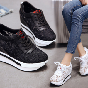 Hot Sales 2020 Summer New Lace Breathable Sneakers Women Shoes Comfortable Casual Woman Platform Wedge Shoes discountshub