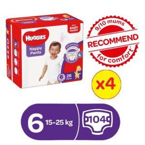 Huggies Nappy Pants Size 6(15-25)kg 26x4packs discountshub