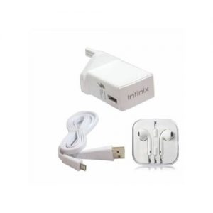 Infinix Fast Charger With Ear Piece - White discountshub