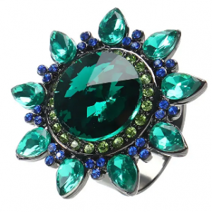 JASSY Bohemian Luxury Crystal Zirconia Flower Adjustable Big Ring Statement Jewelry for Women discountshub