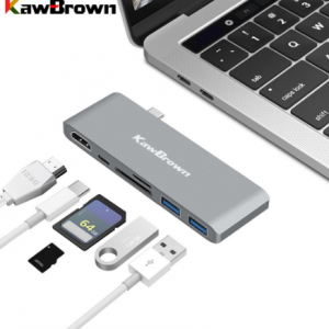 KawBrown USB C Hub Type C to HDMI USB 3.0 Support PD Charging Micro SD/SD Dock Station for Macbook Laptop Computer Accessories discountshub